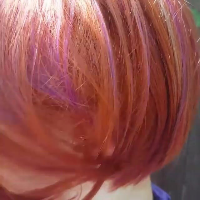 Video by bobbedhaircuts on November 10, 2016. It's all about that boblife! Just look at that full undercut….Intense copperhair rusk7.44 sets this bob on fire with bold streaks of iroirocolors plum and a touch of lavender ! Credit to @dyenoble To have your hair featured please tag @bobbedhaircuts #redhair #bobhaircut #redandpurple #purplehighlights #hiddencolors #ginger #highlights #hairgoals #purplehair #iroiro #streakedhair #lowlights #plumhaircolor #lavenderhaircolor #bobbedha