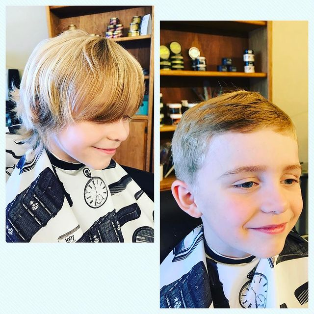 Photo by Refuge Barbershop on September 16, 2017. Image may contain: 2 people, child, closeup and indoor.