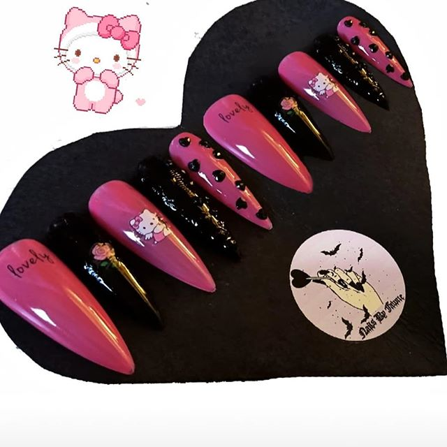 Photo by ️️NailsByFawne ️️ in London, United Kingdom. Black & Pink Hello Kitty Set! Made by a qualified nail artist with professional products. AVAILABLE IN XS/S/M/L + COMES IN SHORT OR LONG STILETTO / COFFIN / SQUARE. DM TO BUY. Etsy & Depop Links in bio! ♡ ~ £12.50 + £2.50 UK DELIVERY ~ ♡ International Available. 100% Cruelty-free PLEASE ALLOW 5-6 DAYS AS MADE TO ORDER ** Last 2-3 weeks depending on your activity. This set comes with * Reusable Pouch * 10