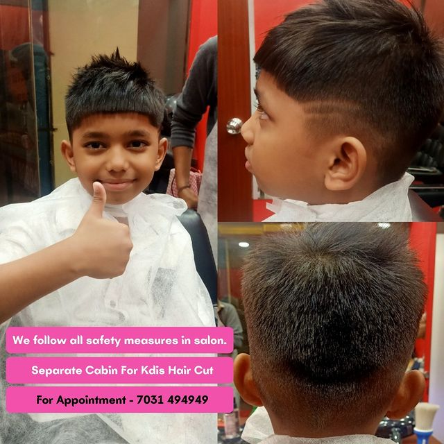 Photo by Jawed Habib Salon Thane on November 08, 2020. Image may contain: 2 people, text that says 'We follow all safety measures in salon. Separate Cabin For Kdis Hair Cut For Appointment 7031 494949'.