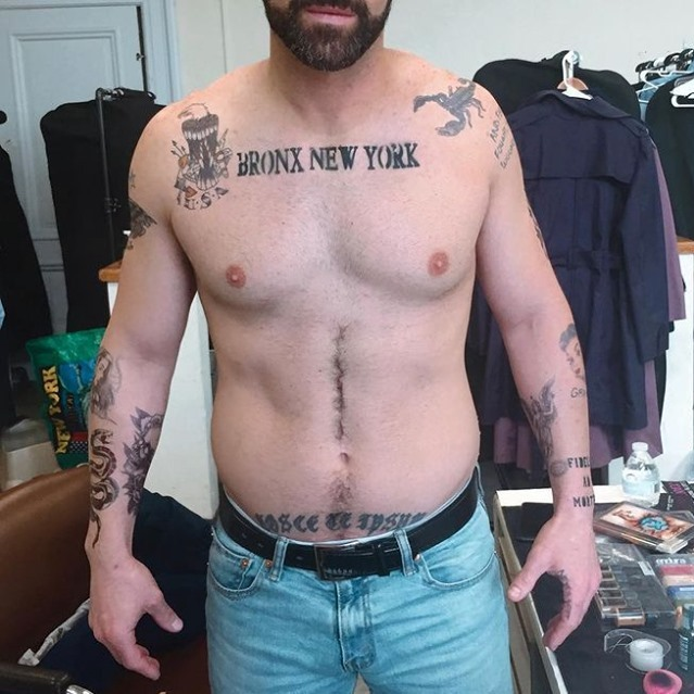Photo shared by Tinsley Transfers on February 28, 2021 tagging @joannadeemakeup. May be an image of one or more people, tattoo, beard, people standing and text that says 'BRONX NEW YORK MI'.