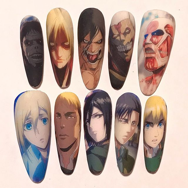 Photo shared by Maddox on March 23, 2021 tagging @nailitmag, @nailpromagazine, @the_gelbottle_inc, @apresnailofficial, @some_melanin_4_u, @attackontitan, and @the_gelbottle_deutschland. May be an anime-style image of 2 people.