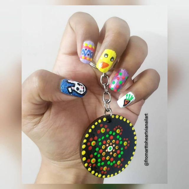 Photo shared by NaiL aRt SwAg! | Nail Artist on April 01, 2021 tagging @pritee_classy_nails, and @ame_de_createur. May be an image of 1 person and text that says 'U0 @fromarttoheartvianailart'.