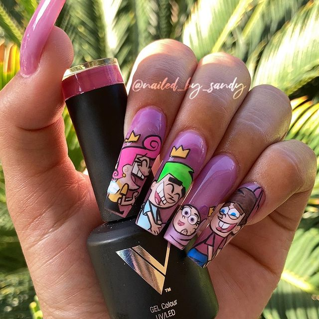 Photo shared by Nailed by Sandy on April 03, 2021 tagging @nickanimation, @nickelodeon, @valentinobeautypure, @nailz_by_dev, @nickelodeonstyle, @david8valentino, @royaltynailsupplies, and @nailzbydevshop.
