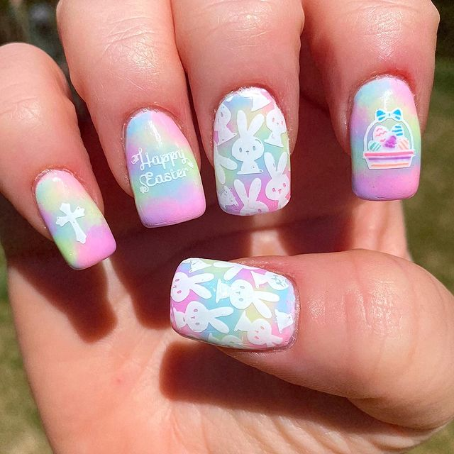 Photo shared by Jamee Heflin Polished Panda on April 04, 2021 tagging @uberchicbeauty, @hellomaniology, @colorclubnaillacquer, @nbnailart, @glamournailart, @moyou_london, @vibrantvinyls, @clearjellystamper, @glamnailschallenge, and @apipilaoficial. May be an image of text that says 'Happy Easter ×'.