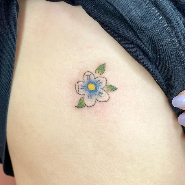 Photo shared by Stick n' Poke Gal on May 18, 2021 tagging @lostfoxtattoo. May be an image of one or more people, tattoo and flower.